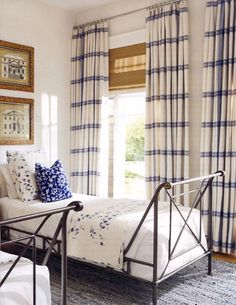 I like the stripes on these curtains But with a contrasting color from the walls'