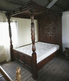 Tudor Panelled Four Poster Canopy Bed