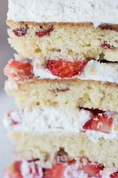 "Strawberries 'n Cream ""Cloud"" Cake ~ with Chambord-Infused Vanilla-Butter Cake, Fresh Strawberries, and Vanilla-Bean Whipped Cream. Oh my."