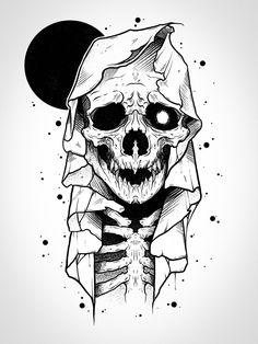 Evil Skull Tattoo, Occult Tattoo, Skeleton Tattoos, Skeleton Art, Skull Tattoos, Skull Tattoo Design, Tattoo Design Drawings, Tattoo Sketches, Cool Skull Drawings