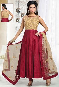 #Red #Art-Silk Churidar #Anarkali #Suit with Dupatta | @ US$120 | Shop It Here: http://www.sareegalaxy.com/women/salwar-kameez/red-art-silk-churidar-anarkali-suit-with-dupatta-kvd87i67452-sg