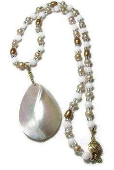 Freshwater white and gold pearl, Mother of Pearl puffed Teardrop pendant necklace The feel of summer