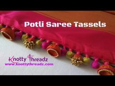 Designer Aari Work Saree Edging | Saree Tassels Using Jhumkas and Potlis | www.knottythreadz.com - YouTube