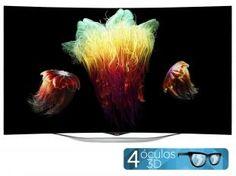 """Smart TV OLED Curva 3D 55"""" LG 55EC9300 Full HD - Conversor Integrado 4 HDMI 3 USB Wi-Fi 4 Óculos"""