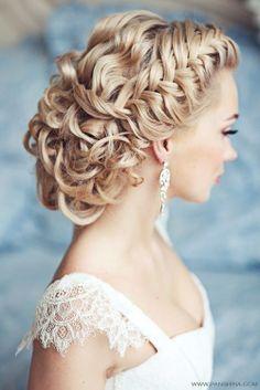 Women's hair style curly sloppy cute bun