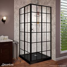 DreamLine French Corner Satin Black Floor Square-Piece Corner Shower Kit (Actual: x x at Lowe's. The DreamLine French Corner sliding shower enclosure is a perfect complement to a modern industrial bathroom style with a European vibe. The French Corner Corner Shower Kits, Corner Shower Enclosures, Corner Showers, Corner Shower Doors, Glass Corner Shower, Outdoor Shower Enclosure, Shower Base, Shower Tub, Huge Shower
