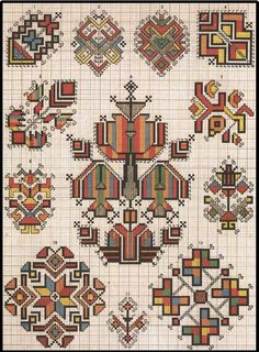 This Pin was discovered by Еле Palestinian Embroidery, Hungarian Embroidery, Folk Embroidery, Cross Stitch Embroidery, Embroidery Patterns, Cross Stitch Numbers, Cross Stitch Borders, Cross Stitching, Cross Stitch Patterns