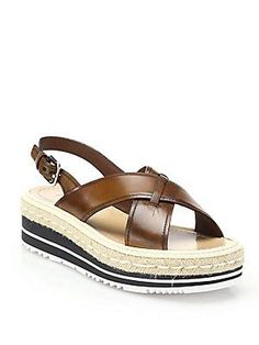 Prada Microsole Leather Cross-Band Sandals