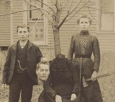 This is the Buckley Family. The children's names were Susan & John. As a Halloween joke, all the kids in the neighborhood were going to get a dummy & pretend to chop its head off.  The Buckley children thought it would be hilarious to actually murder their mother, so they got an axe & slaughtered her. Once everyone figured out what they had done they called the police, but the kids were long gone. The only picture of them was this photo, taken by a trick-or- treater.