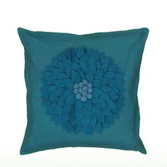 "Applique with Embroidered Dots Turquoise Pillow Cover (18"" x 18"")"
