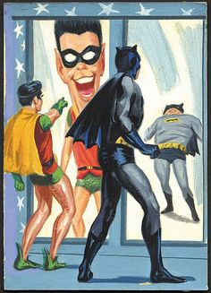 "1966 Topps ""Batman"" Original Card Artwork #20B ""Distorted Dynamic Duo"""