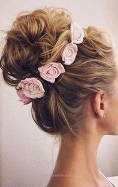 Neat wedding updo hairstyle with pink flowers – Deer Pearl Flowers / www.deerpearlflow…  The post  wedding updo hairstyle with pink flowers – Deer Pearl Flowers / www.deerpearlflo…  appeared ..