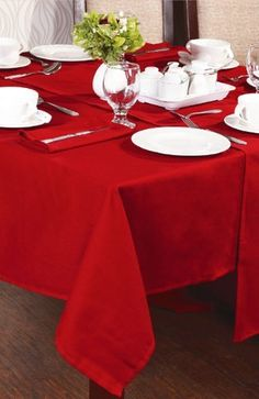 Red Tablecloth 130cm X 180cm By Textiles Direct Red Tablecloth, Christmas  Living Rooms, Table