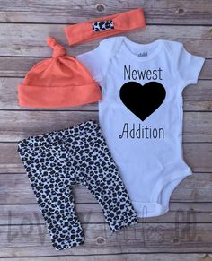 Baby Girls Coming Home Outfit Set Cheetah Print by Lovelylittlesco