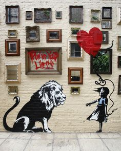 LONDON, UNITED KINGDOM - JUNE 14: New Banksy Mural at The Princess of Wales Pub in Primrose Hill on June 14, 2010 in London, England. (Photo by Neil Mockford/Getty Images)