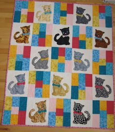 Baby quilt made for 2nd Great-Niece Jaycee Kate - pattern Polka Dot Pets by Darlene Zimmerman
