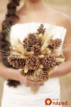 Pine cone wedding bouquets are simply stunning! Check out these twenty examples for non floral and floral weddin bouquet ideas! Fall Wedding Bouquets, Autumn Wedding, Floral Wedding, Diy Wedding, Wedding Flowers, Wedding Ideas, Wedding Rustic, Bridal Bouquets, Wheat Wedding