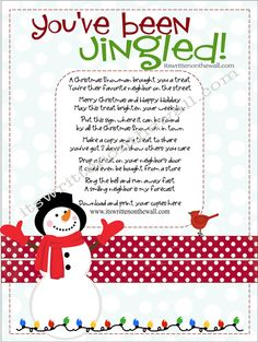 Christmas Gifts Inspiration : Its Written on the Wall: Christmas Youve Been Jingled Cute Way to Package Treats for Neighbor Gifts Family & Friends Holiday Games, Christmas Party Games, Christmas Activities, Christmas Printables, Christmas Projects, Holiday Crafts, Holiday Fun, Christmas Appetizers, Family Holiday