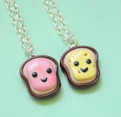 "Handmade Ham & Cheese Best Friend Necklaces by Pumpkin Pye. $39.99. Ham & cheese will go down in the history books as one of the greatest pairings of all time. These ham and cheese BFF necklaces are BEYOND cute - that's their defense mechanism! If they weren't so adorable, you might try and eat them!  Keep one and give one to a friend. Each charm comes on a 16"" silver plated necklace chain.  100% handmade from polymer clay in the USA by Pumpkin Pye.  Please keep i..."
