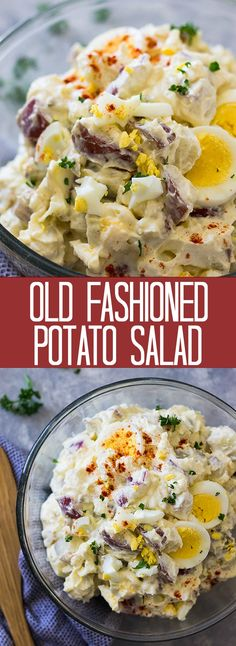 This Old Fashioned Potato Salad is a classic just like grandma made it! It's creamy, made with mayonnaise, sour cream and hard boiled egg. It's perfect for all your summertime get togethers! salad Old Fashioned Potato Salad Amish Potato Salads, Homemade Potato Salads, Loaded Baked Potato Salad, Best Potato Salad Recipe, Southern Potato Salad, Classic Potato Salad, Easy Salad Recipes, Potato Recipes, Sour Cream Potato Salad
