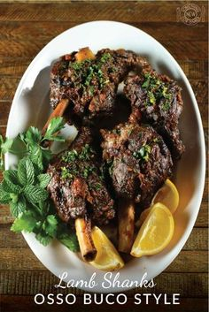 Lamb shanks osso buco style Lamb shanks braised in wine and aromatics osso buco style makes for an easy and delicious special occasion meal. Garnish with lemon, orange, mint and parsley gremolata. Lamb Recipes, Meat Recipes, Food Processor Recipes, Cooking Recipes, Recipes Dinner, Recipies, Braised Lamb Shanks, Slow Cooker Lamb Shanks, Lamb Shanks Oven