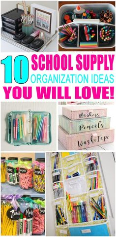 School Organization Ideas! Find the best ways to get your school supplies organized. Find school supply hacks, DIY ideas and more. Great ideas for kids, for teens, for parents and even for teachers. No matter if you are in high school, middle school or elementary school you find ways to be clutter free and tidy with your school supplies. Get the best ideas now! #organization #storage #clutterfree