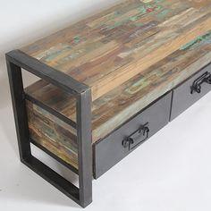 Meuble TV en Métal et Bois recyclé 3 tiroirs 160 cm Industry | MOX12