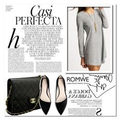 """ROMWE Grey Dress"" by sandra-smileska ❤ liked on Polyvore featuring Whiteley, Chanel and MANGO"