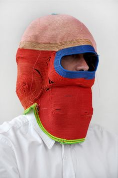 """Dutch designer Bertjan Pot& masks were the product of a failed material experiment. """"I wanted to find out if by stitching a rope together I. Dystopian Fashion, Textiles, Masks Art, Weird Fashion, Eye Art, Fabric Manipulation, Soft Sculpture, Painting Patterns, Mask Design"""