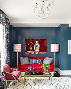 In the guest room, a sofa by Branca is upholstered in a Schumacher velvet.
