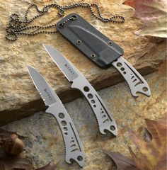 """CRKT Dogfish. Blade: Length: 2.25"""" (5.7 cm)  Thickness: 0.14"""" (0.35 cm)  Steel: 3Cr13, 55-57 HRC   Knife: Overall length: 5.25"""" (13.3 cm)  Weight: 1.5 oz. (43 g)    Dogfish Sheath: (included with knife)  Material: Kydex. $10.00"""