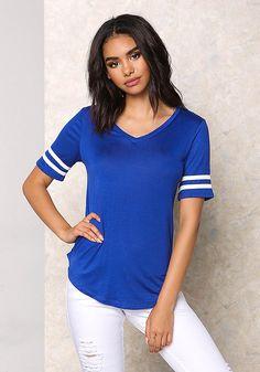 Royal Blue Jersey Knit V Neck Stripe T-Shirt - Sale