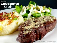 Want a delicious steak for date night without the pricey cost that comes with it? Our Grilled Garlic Butter Steak is a great option, and isn& really pricey Good Steak Recipes, Grilling Recipes, Meat Recipes, Cooking Recipes, Bbq Meals, Steak Dinners, Dinner Recipes, Dessert Recipes, Recipies
