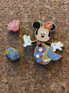 RARE MINNIE Mouse MERMAID SHELL+FISH 3 PIN SET 2002 JDS Disney JAPAN PIN