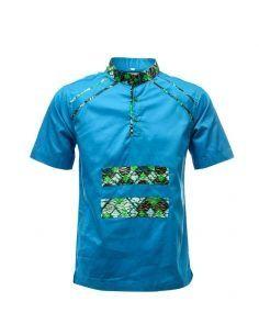 Chemises Manches Courtes à col Mao Et Détails Pagnes - Bleu