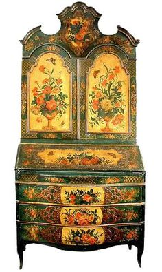 A Rare Century Venetian Polychrome Secretaire of exceptional quality and condition with three long drawers, a fitted interior compartment, two domed doors and surmounted by a moulded and lobed tripartite cornice Decorative Painting, Paint Furniture, Furniture Inspiration, Painted Furniture, Oriental Furniture, Vintage Furniture, Furniture Decor, Venetian Furniture, Beautiful Furniture