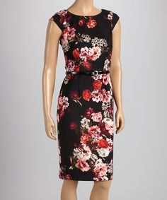 Take a look at this Rabbit Rabbit Rabbit Designs Cranberry Bloom Belted Sheath Dress on zulily today!
