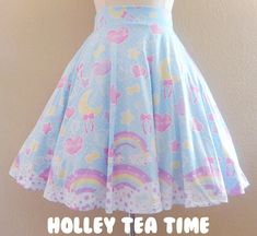 ☆ Pastel Party A-Line Skirt Blue ☆ MADE TO ORDER ☆Decora kei ☆ Fairy kei ☆ Magical Girl
