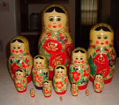 Vintage Large Russian Doll Matryoshka - 13 Pieces - Made in USSR - Free Shipping