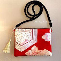 Silk Obi crossboday Bag with Gold tassel Detachable velvet