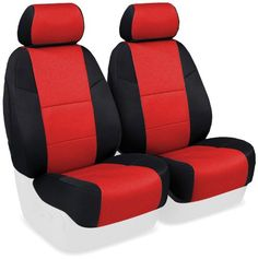 Coverking Custom-Fit Front Bucket Seat Cover - Neosupreme Fabric, Red Custom-tailored in the USA for your year, make, model, and option providing a fit many will mistake for original upholstery. Includes everything your seat rows require - headrests, armrests, console covers, map storage pockets. Engineered to accommodate seat controls, integrated airbags, and seat belts. Affordable and active protection - more affordable alternative to genuine neoprene. Super comfortable, sleek fitting…