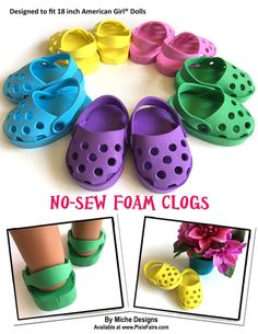 """Pattern Overview: Inspired by the popular slip on style shoes seen from brands like Crocs® these rubber style clog shoes are all the rage! Now your 18"""" doll can share in the fun of wearing this comfortable trendy shoe. Whether she's planning a day in the park, a trip to the beach, or just hanging with friends, she'll have the perfect shoes for the occasion. These shoes are so fun and easy to make that youll want to make several in all of your dolls favorite colors! This easy no-sew PDF…"""