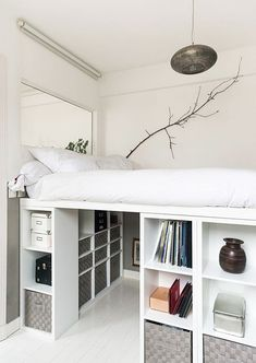 Low bunker beds that can be used to easily produce homemade materials . - Draft - Low bunker beds that can be used to easily produce homemade materials … - Room Ideas Bedroom, Small Room Bedroom, Bedroom Loft, Bedroom Storage, Dorm Room, Bedroom Decor, Loft Bed Storage, Raised Beds Bedroom, Teen Bedroom
