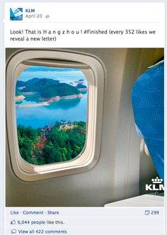 """How to drive Facebook engagement like  KLM? Start playing """"destination hangman""""!"""