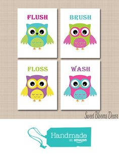 Owl Bathroom Décor,Owl Bathroom Wall Art,Owl Wall Art,Owl Kids Bathroom
