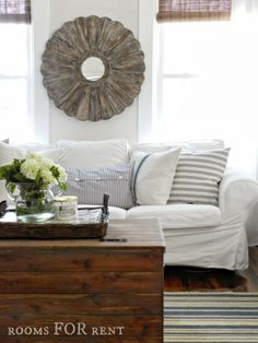 For the family room, but with more rustic, less nautical pillows!
