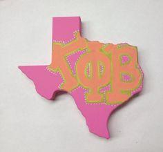 Painted Sorority wooden Shape of Texas Alpha Phi Omega, Alpha Omicron Pi, Delta Phi Epsilon, Kappa Kappa Gamma, Kappa Alpha Theta, Alpha Chi, Phi Mu, Delta Gamma, Chi Omega
