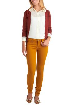 mustard skinny jeans. white blouse. maroon cardigan. cute and simple outfit.
