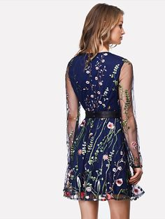 Embroidered Mesh Overlay Fit & Flare Dress -SheIn(Sheinside)