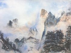 mountains panorama, misty mountain, landscape watercolor, panoramic view over the Alps Original watercolor by JP Wisniewski Mountain Landscape, Watercolor Landscape, Photos, Painting, Etsy, The Originals, Water Colors, Mountains, How To Paint